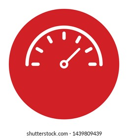 Speedometer gauge icon vector isolated on flat red round button illustration