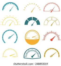 Speedometer or gauge icons set isolated on white background. Infographic and car instrument design elements. Colorful vector illustration.