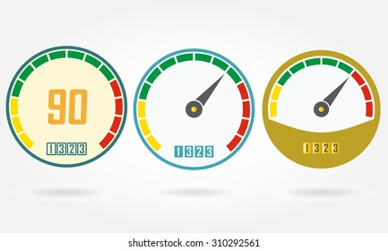 Speedometer or gauge icons set isolated on white background. Infographic and car instrument design elements. Template for download or upload design. Colorful vector illustration.