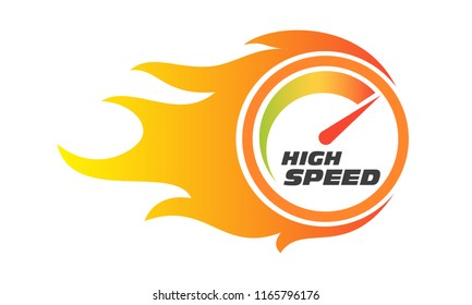 Speedometer gauge indicator of high speed performance internet service with flame ignite