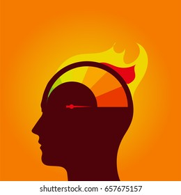 Speedometer in human head. Nervous stress and fatigue. Stock vector illustration.