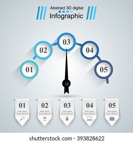 Speedometer icon. Abstract 3D digital illustration Infographic.