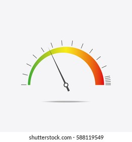 Speedometer icon. Color infographics, speed dial. Vector illustration.