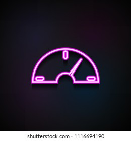 speedometer icon. Element of Minimalistic  icons for mobile concept and web apps. Neon speedometer icon can be used for web and mobile on dark gradient background