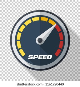 Speedometer icon in flat style with long shadow on transparent background