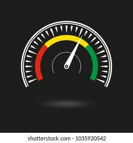 Speedometer icon. Gauge and rpm meter logo. Vector illustration.