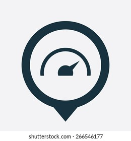 speedometer icon map pin on white background