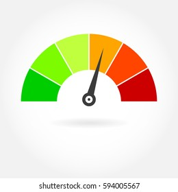 Speedometer icon. Meter or gauge design element. Colorful vector illustration.