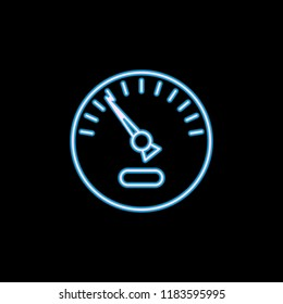 speedometer icon in neon style. One of motobike collection icon can be used for UI, UX on black background