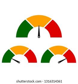 Speedometer icon set. Gauge or meter sign. Infographics design element. Vector illustration.