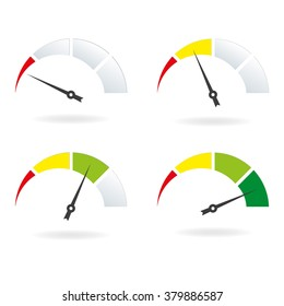 Speedometer icon set. Meter with arrow and gauge symbol. Vector illustration.