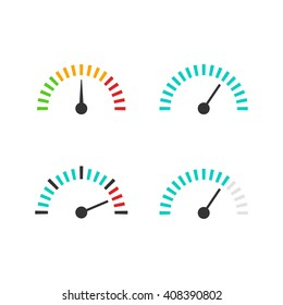 Speedometer icon set vector illustration, speed control measure element with scale, pressure indicator, abstract measurement tool symbol design isolated on white background