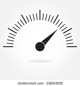 Speedometer icon or sign with arrow. Infographic gauge element. Vector symbol. Black tachometer isolated on white background.