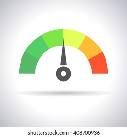 Speedometer icon or  sign with arrow, isolated colorful Info-graphic gauge element. Vector illustration stylish for web design