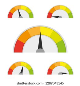 Speedometer icon or sign with arrow. Vector