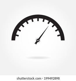 Speedometer icon or sign. Isolated vector illustration on white background.