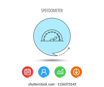 Speedometer icon. Speed tachometer with arrow sign. Calendar, User and Business Chart, Download arrow icons. Speech bubbles with flat signs. Vector