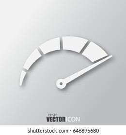 Speedometer icon in white style with shadow isolated on grey background. For your design, logo. Vector illustration.