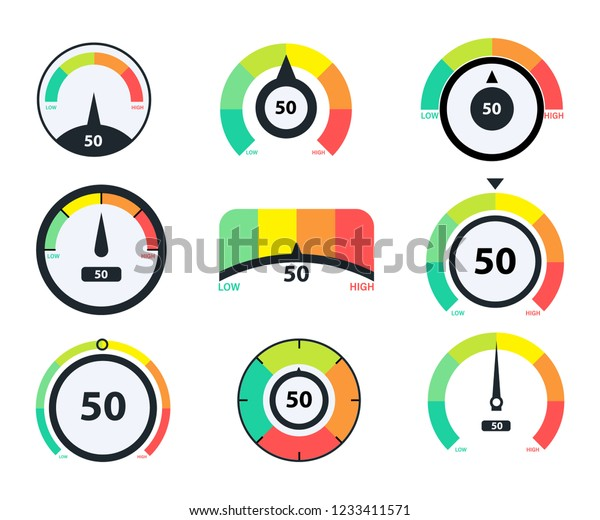 Speedometer icons. Business credit score vector speedometers. Different speed indicators