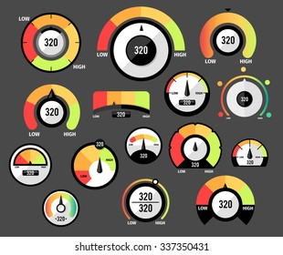 Speedometer icons or Circular gauges icons set