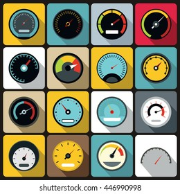 Speedometer icons set in flat style vector illustration