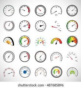 Speedometer Icons Set - Isolated On White Background - Vector Illustration, Graphic Design