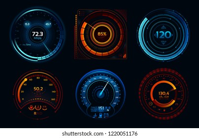 Speedometer indicators. Power meters, fast or slow internet connection speed meter stages. Automobile digital odometer indicator display technology for racing game vector isolated icons concept set
