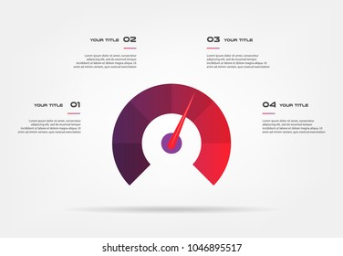 Speedometer infographics with circle. Element of chart, graph, diagram with 4 options - parts, processes, timeline. Vector business template for presentation, workflow layout, annual report