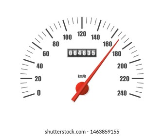 speedometer isolated on white background. Sport car odometer with motor miles measuring scale. Racing speed counter. Engine power concept template. Vector illustration