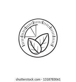 Speedometer with leaf hand drawn outline doodle icon. Green energy, ecofriendly technolody concept. Vector sketch illustration for print, web, mobile and infographics on white background.