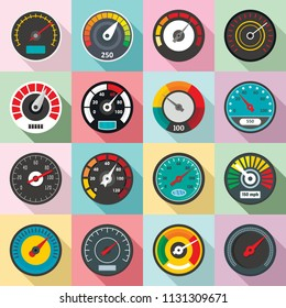 Speedometer level indicator icons set. Flat illustration of 16 speedometer level indicator vector icons for web