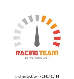 Speedometer logo design. Racing team icon template. Speed service engine vector illustration. Transportation concept