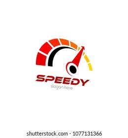 Speedometer Logo Icon Template Design. Speed Vector Illustration
