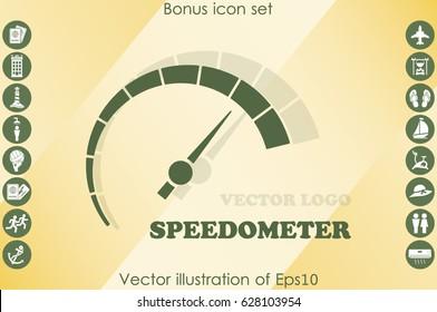 Speedometer logo icon vector illustration eps10. Isolated badge speedo flat design for website or app - stock graphics