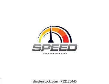 Speedometer Logo Template Design. Creative Vector Emblem for Icon or Design Concept