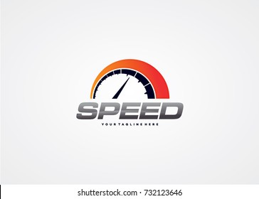 Speedometer Logo Template Design. Creative Vector Emblem for Icon or Design Concept