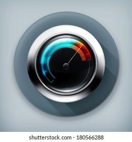 Speedometer, long shadow vector icon