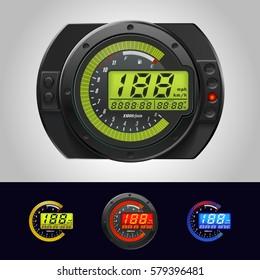 Speedometer Motorcycle LCD-Digital Odometer Tachometer Scooter color Backlit Universal
