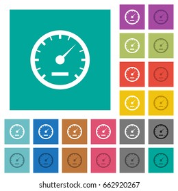 Speedometer multi colored flat icons on plain square backgrounds. Included white and darker icon variations for hover or active effects.
