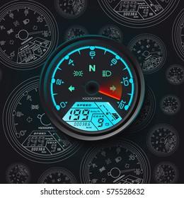 Speedometer Odometer motorcycle Universal LCD-Digital Tachometer digital gauge