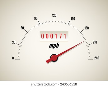 Speedometer with odometer and a red arrow on a white background. Vector illustration
