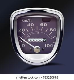 Speedometer of an old motorbike. Realistic vector. Retro gauge. Tachometer. Round. Metal. Classic.