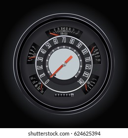 speedometer round speed motorbike car retro black circle