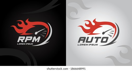 Speedometer RPM gauge icon. Auto speed logo with racing flame. Instrument cluster performance sign. Vector illustration.