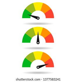Speedometer set of icon colorful info-graphic in flat style vector illustration. EPS 10
