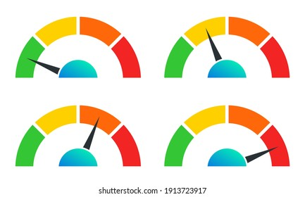 Speedometer set for infographic. Gauge or meter icons for speed performance. Vector illustration.
