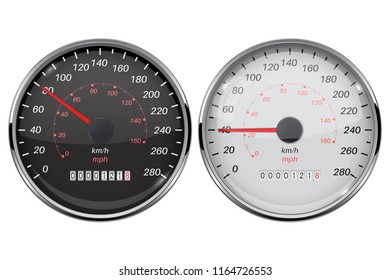 Speedometer set. Kilometers and miles. Black and white car dashboard gauges. Vector 3d illustration isolated on white background