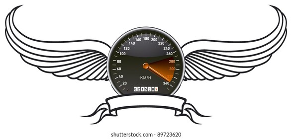 speedometer shield with wings and banner