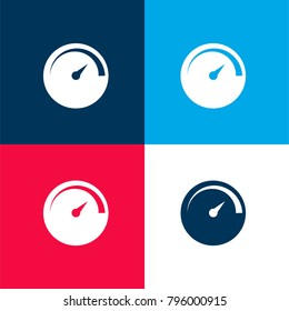 Speedometer simple symbol four color material and minimal icon logo set in red and blue