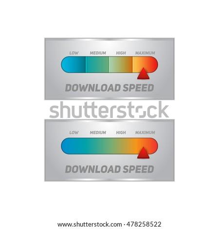 Speedometer Slow Fast Download Speed Internet Stock Vector (Royalty